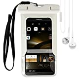 Universal Waterproof Case Bag Cover for Outdoor Boating Kayaking Rafting Swimming for Huawei P8 Lite, Ascend P7, Honor 4 Play, P6, ASUS ZenFone 2, PadFone X fit up to 5.5 inch with VG Earbud, White