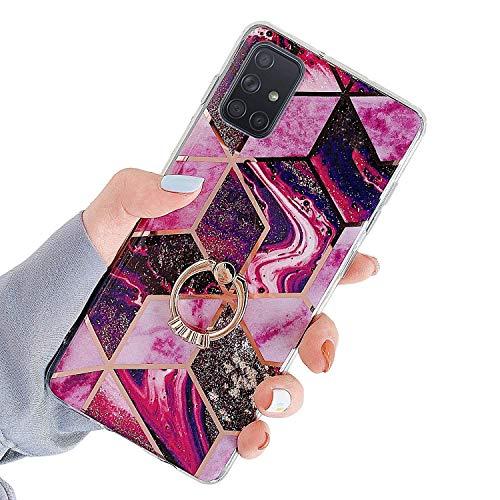 Herbests Kompatibel mit Samsung Galaxy A71 Hülle Handyhülle Glänzend Glitzer Bling Marmor Muster Silikon Schutzhülle Soft Stoßfest Handytasche mit Diamant Ring Halter Ständer,Rot Lila