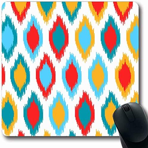 Jamron Mousepad OblongRed Form Blau Gelb Papier Seide Weiß Bunte Textur Ikat Dekor Abstrakte Texturen Stil Muster Rutschfeste Gummimaus Pad Büro Computer Laptop Spiele Mat.-Nr.