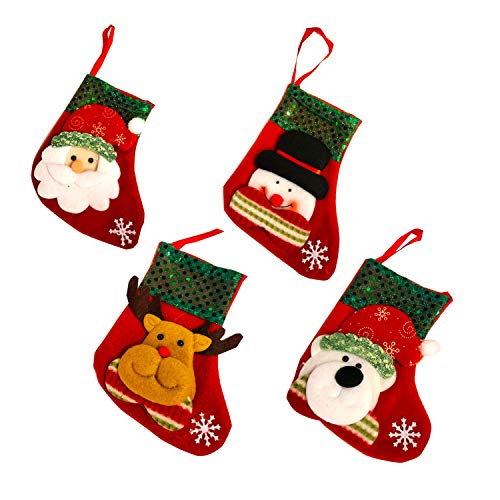 Christmas Joy Decorations 3D Christmas Stockings Small Sized Ornaments Set of 4 Gift & Candy Bag – Tinsel
