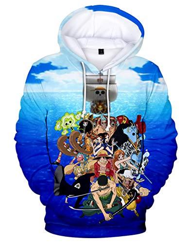 Moletom com capuz 3D de manga única, moletom com capuz Luffy Zoro Sanji Ace com personagens Cosplay para homens e meninos, J, 130
