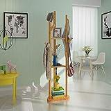 Coat Stand - ♦ YMJ Suspensión Multifuncional del Estante del almacenaje de la Ropa del Piso del pie del Perchero de, decoración casera - Welcome-0413 (Color : Bamboo Color)