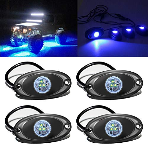 FABOOD F 4 Pods LED Rock Light Kit for Jeep ATV SUV Offroad Car Truck Boat Underbody Glow Trail Rig Lamp Underglow LED Neon Lights Waterproof 12V 24V - Blue