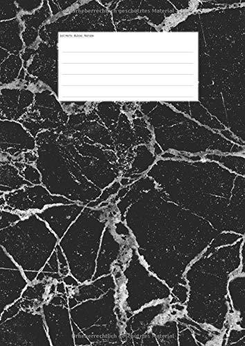 Hefte - Blöcke - Notizen: Marmor schwarz Notenheft DIN A4, 50 Seiten, 12 Systeme