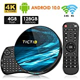TICTID Android 10.0 TV Box T8 MAX【4G+128G】con Mini Teclado inalámbirco con touchpad RK3318 Quad-Core 64bit WiFi-Dual 5G/2.4G,BT 4.0, 4K*2K UDR H.265, USB 3.0 Smart TV Box