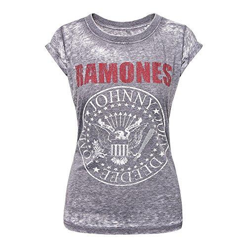 Ramones T Shirt Presidential Seal offiziell damen Nue Grau Skinny Fit Burnout