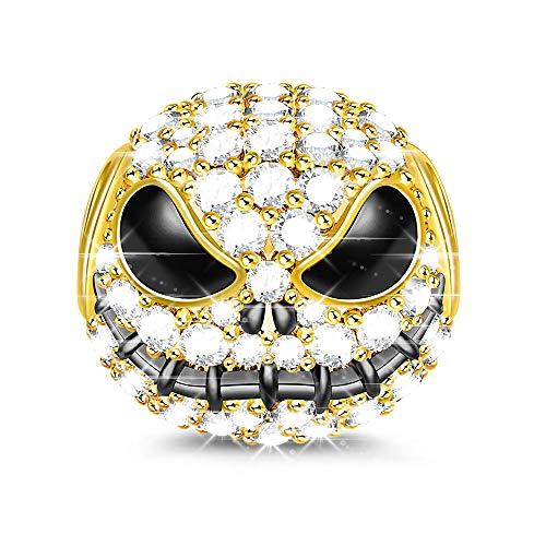 """GNOCE\""""Jack Schädel\"""" Charm Anhänger 925 Sterling Silber Bead Charms mit Zirkonia Charm Schmuck für alle Armbänder Halsketten Geschenke Bijouterie für Halloween Damen Mädchen Baby (Gold)"""