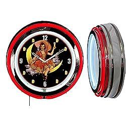 Checkingtime LLC 19 Miller High Life Beer Girl #1 Neon Clock, Red Outside Tube, Two Neon Tubes
