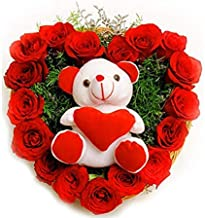 PurePetals Flowers Bouquet Fresh Roses I Valentine Gift for Girlfriend I Valentine Gift for Boyfriend I Gift for Girls I Wedding Gift for Couples (143 Real Red Roses & Cute Teddy Bear)
