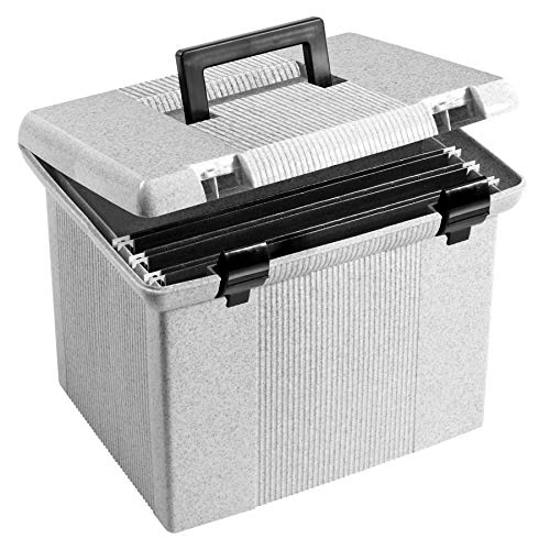 Pendaflex Portable File Box with File Rails, Hinged Lid with Double Latch Closure, Granite, 3 Black Letter Size Hanging Folders Included (41747AMZ)
