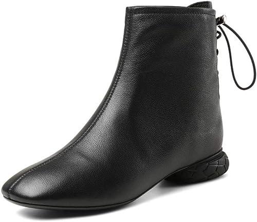 HRN botas Cortas para mujer de Cuero con Cabeza Cuadrada tacón bajo Martin botas con Cordones Botines de Moda otoño, negro,37EU