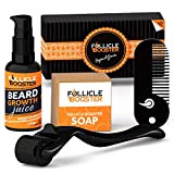 Beard Growth Kit by FolliceBooster - Beard Growth Oil Serum with Titanium Derma Roller for Beard BONUS Vitamins Cleansing Soap, Beard Grooming Pocket Comb, and Beard Growth Course, Best Gift For Men