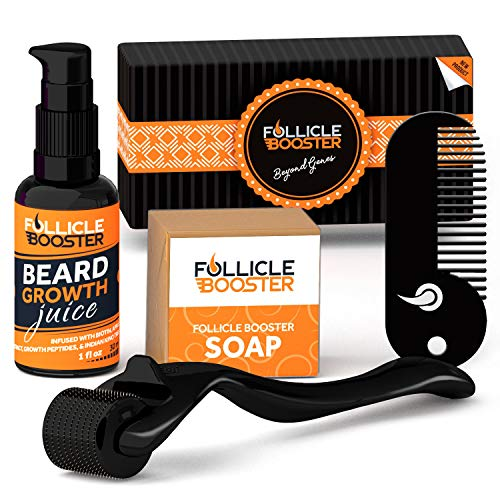 Complete Beard Growth Kit - Titanium Beard Derma Roller - Organic Beard Growth Serum with Follicle Growth Peptides and Biotin - Vitamins Cleansing Soap - Pocket Beard Comb - The Perfect Gift For Men