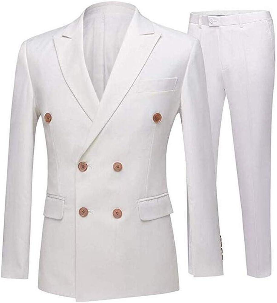 White Slim Fit Men Suit Double Breasted Peak Lapel 2PCs(Jacket+White Pants) Blazer Wedding Grooms Tuxedo