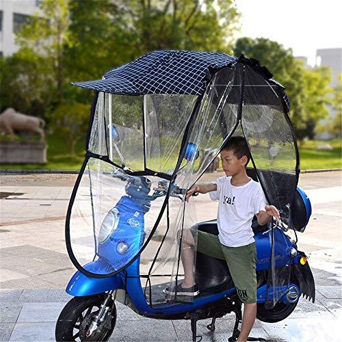 XJZKA Paraguas Universal para Motocicleta, Parasol, para Lluvia, Parasol de Coche eléctrico Completamente Cerrado, Impermeable, Parabrisas con Visera de Bicicleta de Motor, E
