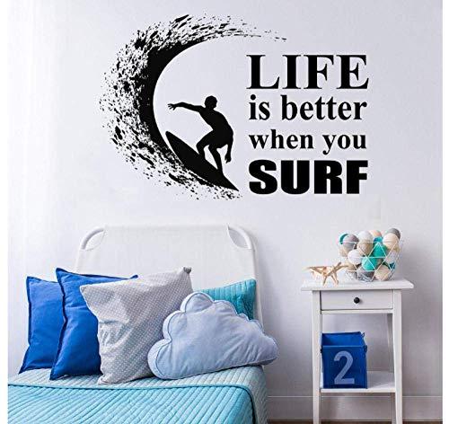 Simple Tabla De Surf Wave Ocean Extreme Vinilo Pared Calcomanía Deportes Impermeable Papel Tapiz Para Bddroom 81X57Cm
