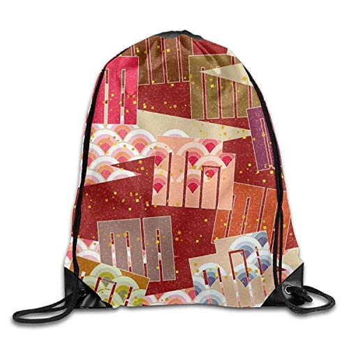 Lsjuee Native Japanese Print Drawstring Backpack Rucksack Shoulder Bags Gym Bag Sport Bag