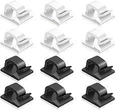 60 stuks zelfklevende kabelklemmen, FineGood kunststof kabelsnoer Organziers kabel opslag management clip voor thuiskantoo...