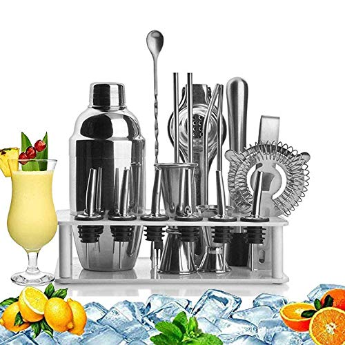 YUYANDE Kit de barmandero de acero inoxidable, barra de coctelera con juego con kit de martini, doble jigger de medición, cuchara mezcladora, vulneros de licor, colador y pinzas de hielo, herramientas