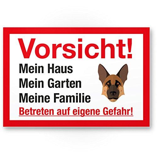 Komma Security Vorsicht Hund Mein Haus Garten Familie - Hunde Kunststoff Schild Hinweisschild Grundstück mehrsprachig Shepherd - Türschild Haustüre Warnschild Einbruchschutz - Achtung Schäferhund