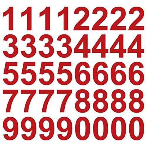 kleb-Drauf   40 Zahlen, Höhe je 10 cm   Rot - matt   Wandtattoo Wandaufkleber Wandsticker Aufkleber Sticker   Wohnzimmer Schlafzimmer Kinderzimmer Küche Bad   Deko Wände Glas Fenster Tür Fliese