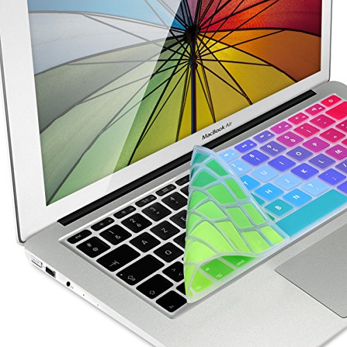 kwmobile Silicone Keyboard Cover Compatible with Apple MacBook Air 13''/ Pro Retina 13''/ 15'' (to Mid 2016) - AZERTY (France, Belgium) Keyboard Protection - Rainbow Progression Multicolor/Green/Blue