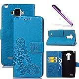COTDINFOR LG G4 Stylus Funda trébol Cierre Magnético Billetera con Tapa para Tarjetas de Cárcasa Elegante Retro Suave PU Cuero Caso Protectora Case para LG G4 Stylus/G Stylo / LS770 Clover Blue SD
