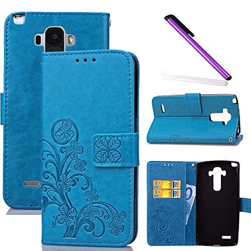 COTDINFOR LG G4 Stylus Custodia Cover Elegante Retro Donna Clover Embossing PU in Pelle con Wallet Card Holder Flip Custodia per LG G Stylo / LS770 Clover Blue SD.