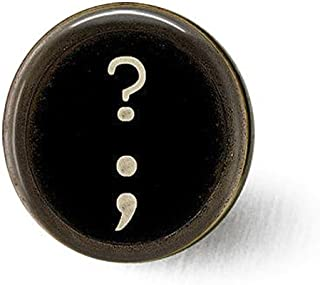 Typewriter Key Question Mark Semi Colon - Typewriter Key Jewelry - Punctuation Brooch - Grammar - Gift for Writer or Blogg...