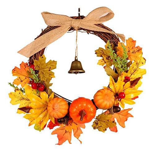 Maple Leaf Door Wreath, Pumpkin Garland with Bell, Pumpkin, Maple Leaves, Artificial Autumn Harvest Door Wreath for Front Door Wedding Home Decor,30cm