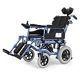 GBX@I Silla de ruedas eléctrica de servicio pesado con reposacabezas, silla de ruedas eléctrica plegable y ligera, ancho del asiento: 45 cm, ángulo de respaldo ajustable, joystick d