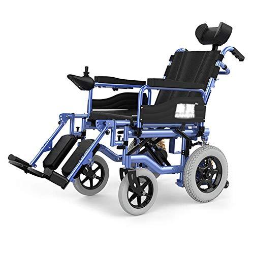 Elektrische rolstoel, robuust, voor ouderen, met hoofdsteun, klapstoel en elektrische rolstoel, draagbaar, breedte van de zitting: 45 cm, verstelbare rugleuning.