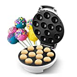 DSP Cake Pop Maker Bake 12 Pop Cakes at Once Non-Stick Surface Easy Cleanup, White, 1700w