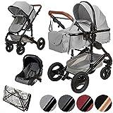 ib style® SOLE 3 in 1 Kombi Kinderwagen   inkl. Auto Babyschale   Zusammenklappbar   inkl. Regen- &...