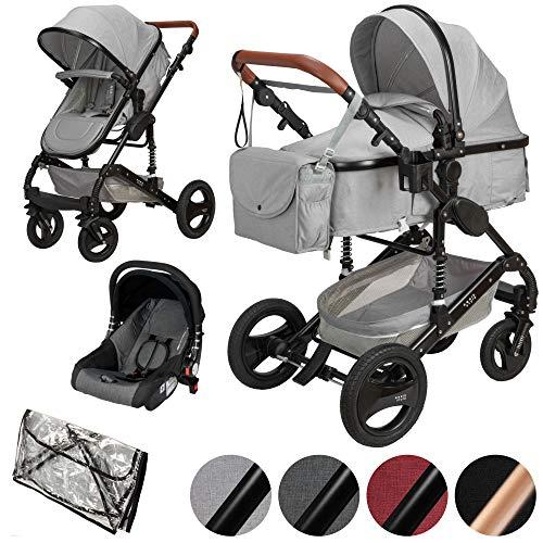 ib style® SOLE 3 in 1 Kombi Kinderwagen | inkl. Auto Babyschale | Zusammenklappbar | inkl. Regen- & Mückenschutz | 0-15kg |Hellgrau/Gestell: Schwarz