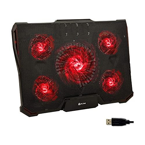 LIPETLI Base de RefrigeracióN para Ordenador PortáTil, Base Portatil Gaming de Enfriamiento RáPido con led Rojo, 5 Ventiladores Ultra Silenciosos, 2 Puertos USB, 7 Niveles de DiseñO Ajustable