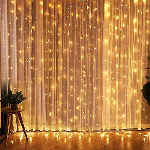 IMAGE 8 Modes Curtain Lights 9.8x6.6 Foot 224 LED String Lights Fairy String Lights for Wedding Party Home Garden Indoor Outdoor Wall Backdrops Decorations Waterproof UL Safety Standard Warm White