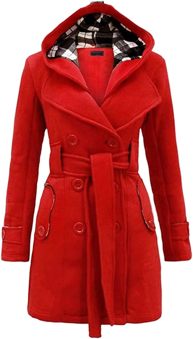 Safety and trust Columbus Mall GORIFE Women Winter Double Breasted Faux Solid Thi Pea Coats Fur