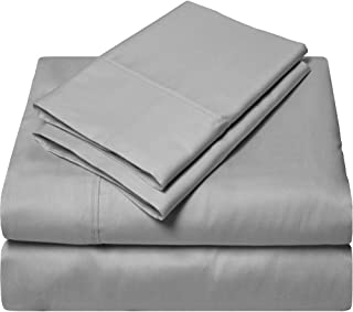 SGI bedding Short King Sheets Luxury Soft 100% Egyptian Cotton - Sheet Set for Short King 73x76 Mattress Silver Gray Solid 600 Thread Count Deep Pocket