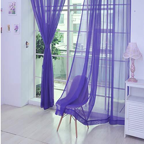 FeiliandaJJ 240x150cm Voile Vorhänge Transparente Gardinen, Gardinen mit ösen Pure Farbe Atmungsaktiv Waschbar Gardinenschals Vorhänge Wohnzimmer Kinderzimmer Schlafzimmer (Lila)
