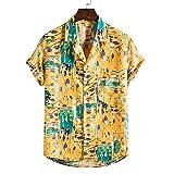 Camisa Hawaiana Hombre,Hawaiano Casual Abotonado Manga Corta Boho Punto Abstracto Estampado Amarillo De Secado Rápido Transpirable Estilo Vintage Aloha Camisa para Hombre Mujer Vacaciones En La Pla