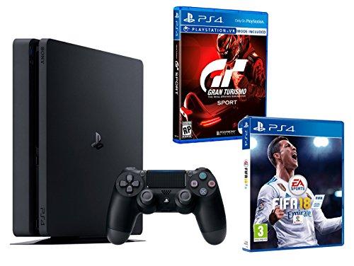 PS4 Slim 1To Noir Playstation 4 - FIFA 18 + Gran Turismo Sport GT Sport
