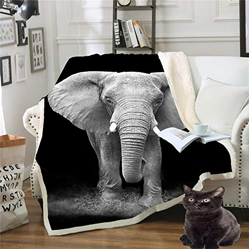 Blanket,3D Elephant Animal Printing Blanket Double Queen Size Plush Sherpa Blanket Travel Super Soft Fluffy Warm Bed Throws Quilt For Bed Sofa Kids Teen Girls Adults,75×100Cm/30×40Inch