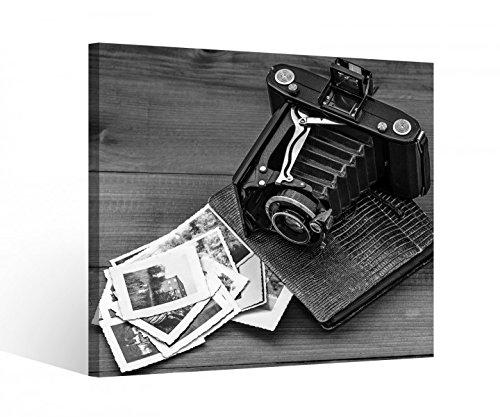 Leinwandbild 1Tlg Retro Vintage Kamera Album Fotos Schwarz weiß Leinwand Bild Bilder Holz gerahmt 9U2285, BxH Format:40x40cm