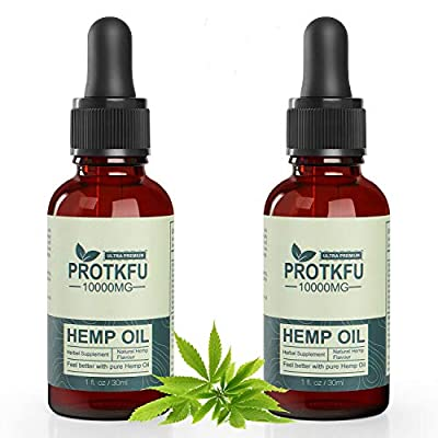 (2 Pack) 10000mg Organic Hemp Oil Pure Extract for Pain Relief, Relaxation, Better Sleep - Rich in Vitamin & Omega, Helps with Sleep, Skin & Hair, Improve Health Vegan Friendly by HGDD
