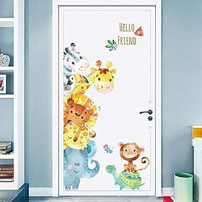 Cartoon Animals Wall Stickers DIY Children Mural Decals for Kids Rooms Baby Bedroom Wardrobe Door Decoration (Animal)