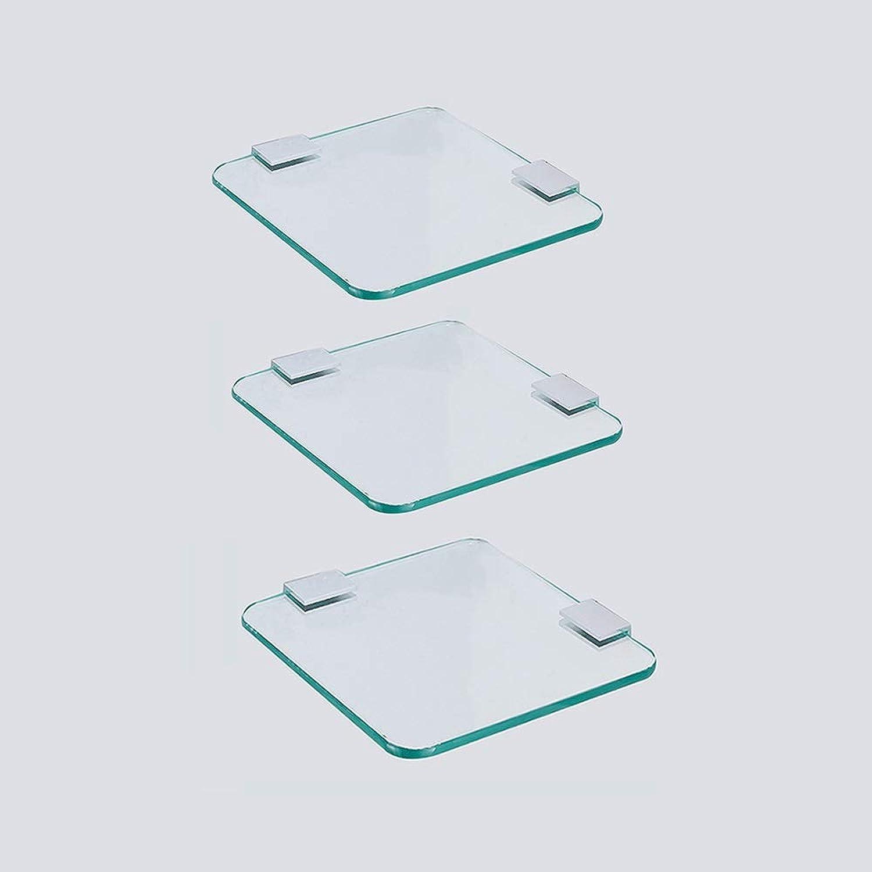 XSJZ Tempered Glass Shelf, Multi-Layer Superimposed Rectangular Corner Frame for Bathroom Bathroom Toiletries Storage Finishing Tools 22 cm Bathroom Wall Mount Shelf (color   3-Layer)
