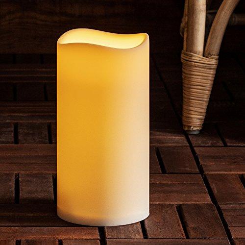 Lights4fun LED Außenkerze Gartendeko mit Timer 22,5cm Batteriebetrieb