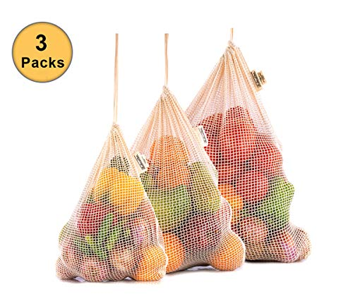 Sac a Fruits et Legumes Réutilisable - Sacs Reutilisables - Sac Filet - Sachet Legume Reutilisable Lin - Sac en Coton Courses - Sac à Vrac Coton Bio Set de 3 (X Grand, Grand, Moyen)