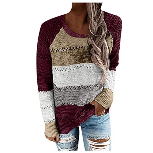 GFGHH SHIZUANYUE - Sudadera con capucha y sin capucha, cuello en V, informal, bloque de color, jersey de punto, suéter informal, rojo, S